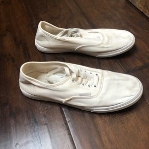 Gently used ladies white vans with laces, size 7